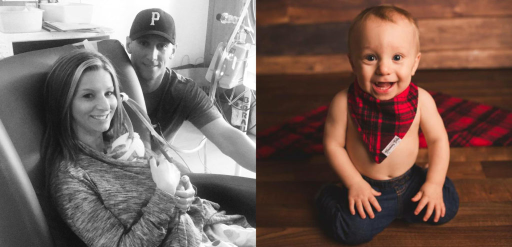 Erin & Tyson and son Wyatt Then and Now