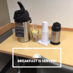 Fresh coffee and creamer donated by Sisters Coffee Company accompanies our juice smoothies, herbal teas, and Emergen-C packets